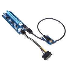 NEW 006C PCI-E PCI Express 1x To 16x Extender Riser Card With 40cm USB3.0 Cable & SATA 15Pin-6Pin Power Cord For BTC Mining