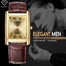 Ftv oro reloj de los hombres 2017 mens de la correa de cuero del rectángulo de pulsera 30 metros impermeable masculino relojes casual relogio masculino