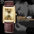 Ftv oro reloj de los hombres 2016 mens de la correa de cuero del rectángulo de pulsera 30 metros impermeable masculino relojes casual relogio masculino