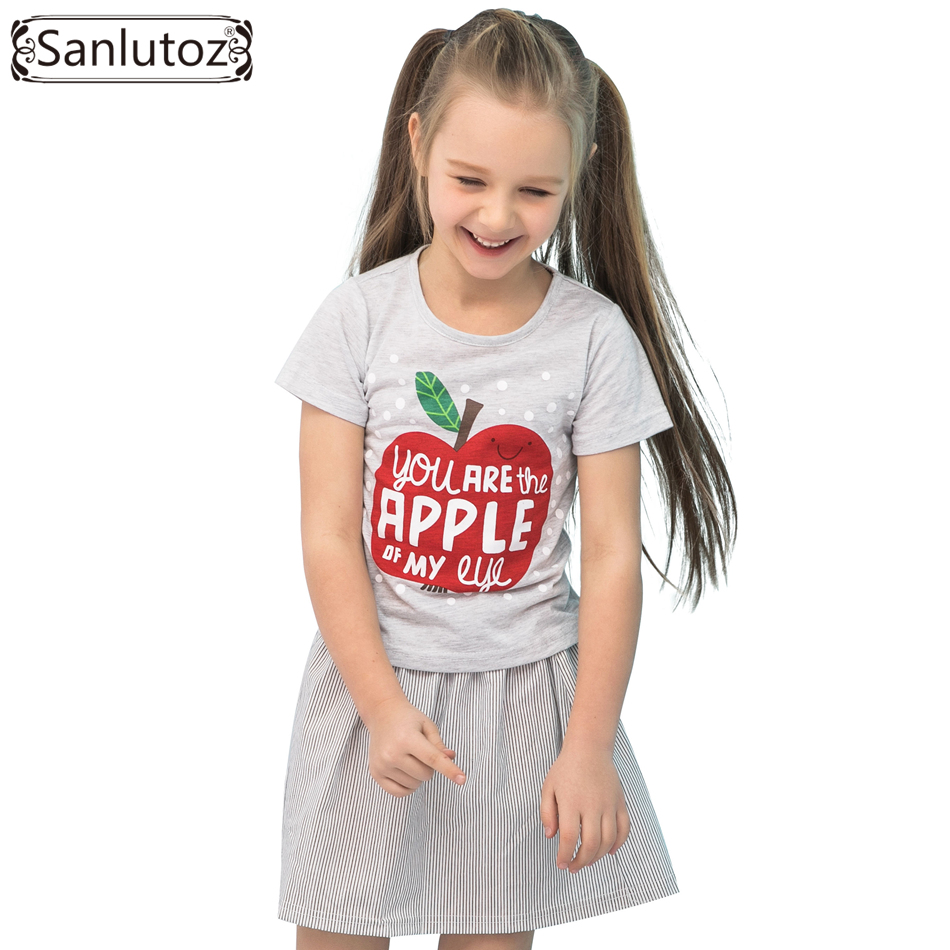 Sanlutoz Summer Cotton Kids Clothes Apple Pattern Girl Clothing Sets Brand Children Clothes Fashion Toddler ( T-Shirt + Skirt )