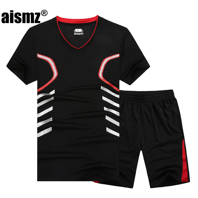 Aismz plus size M-7XL 8XL 9XL summer men Quick Dry t shirt tracksuit 2018 New casual sporting men sets 2pcs sportswear clothing