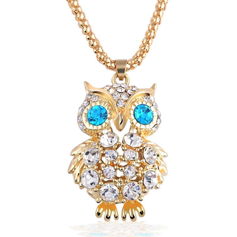 Omeng Талисманы Сова Ожерелья для мужчин и Подвески Винтаж драгоценный камень в кубический циркон золото Кристалл длинной цепи Цепочки и ожерелья Для женщин jewelry xl517