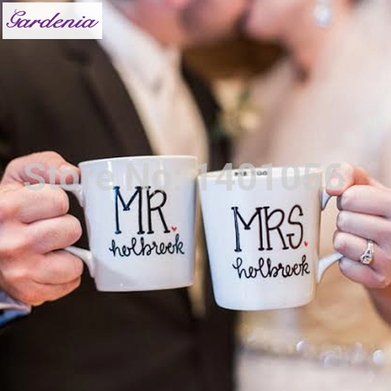 Unique Wedding Present Mr And Mrs Customized Coffee Mugs Gift For Wife Newlyweds Anniversary Creative Tea Cup In From Home Garden On