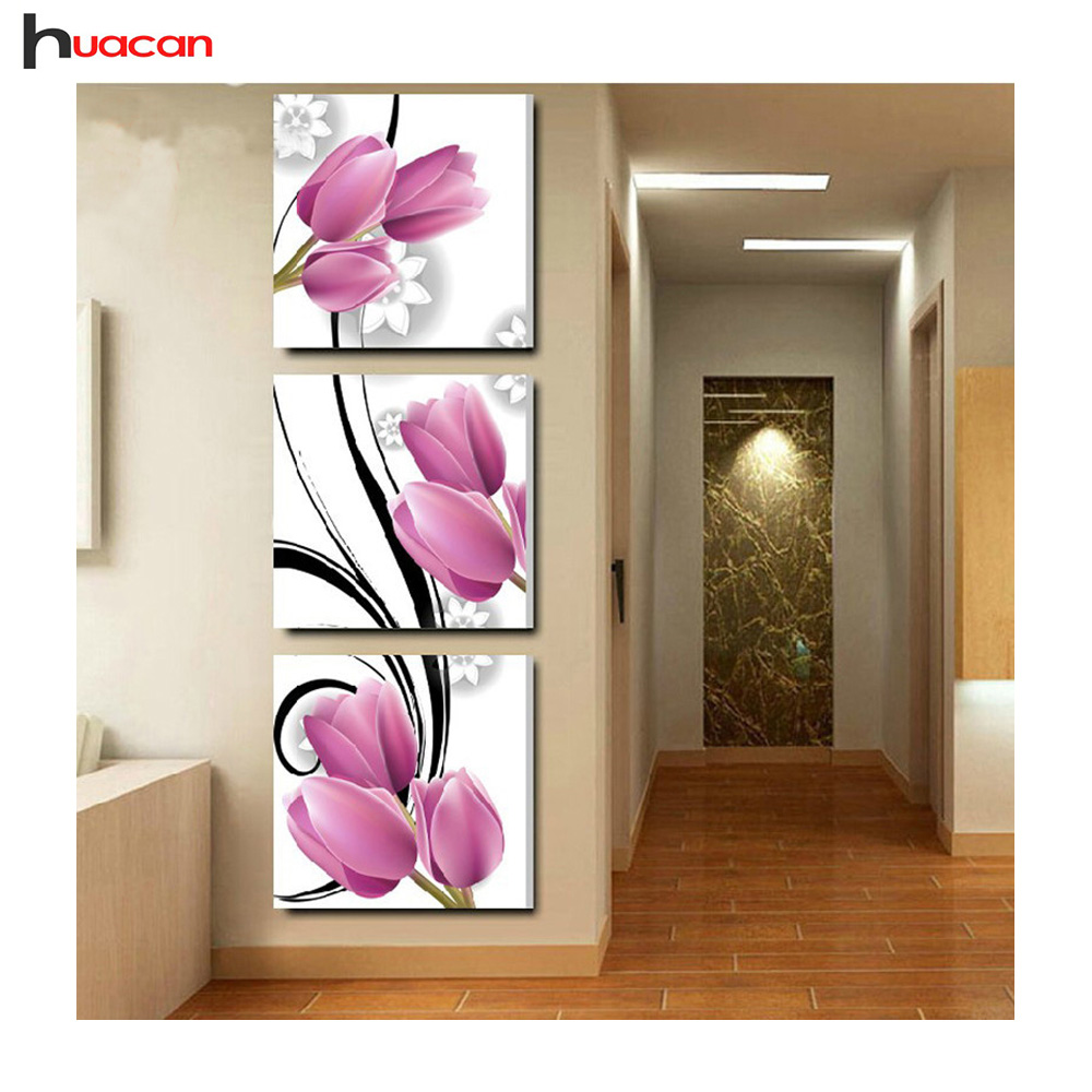 Painting Embroidery Cross-Stitch-Kits Diamond Mosaic Diy 5d Triptych Flower Square Full