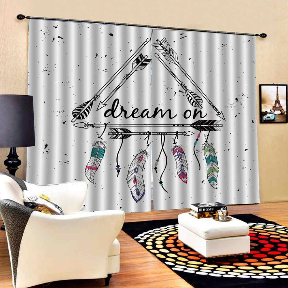 feather curtains simple Blackout curtain 3D Window Curtains Living Room wedding bedroom Cortinas Drapes