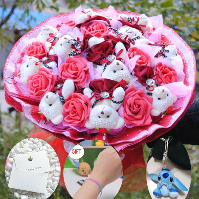 Bear Bouquet Plush Stuffed Carton Animals Toys Artificial Kawaii Cartoon Fake Flowers Best Birthday Christmas Day Gifts