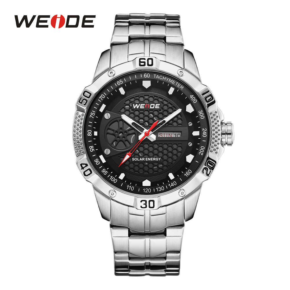 WEIDE Mens Watch Sports Solar Energy Movement Date Analog Digital Calendar Hardlex Silver Stainless Steel Band Black Wrist Watch