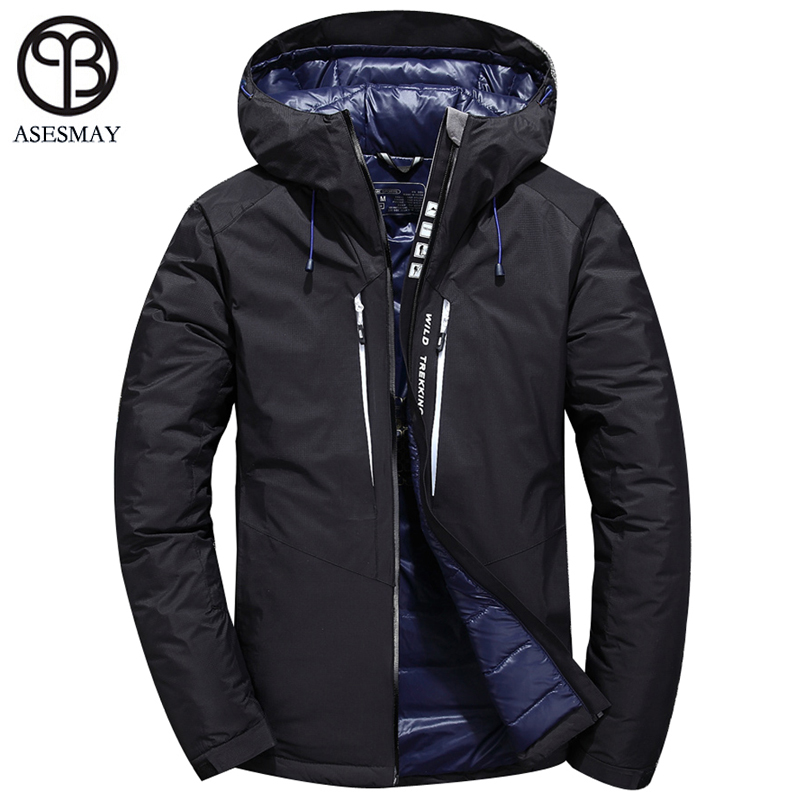 Asesmay 2018 Winter Men's White Duck Down Jacket Men Short Hooded Collar Down Coat High Quality Thick Down Parka Puffer Overcoat