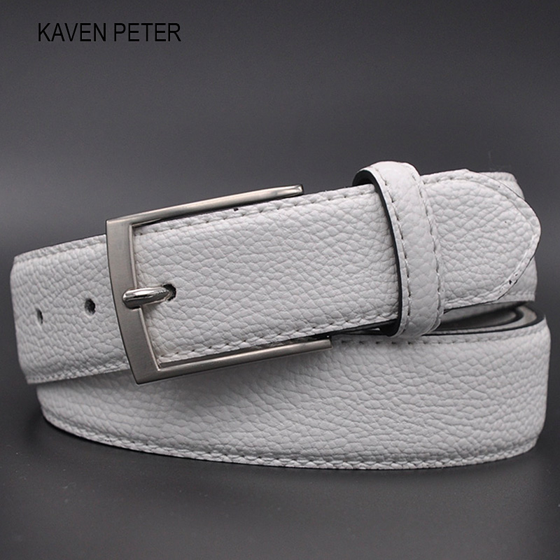 White Male Cloth Waist Belt Fashion Belt For Jeans Business Casual Dress Suit Stylish Pebble Grain White Belt Holes FreeShipping
