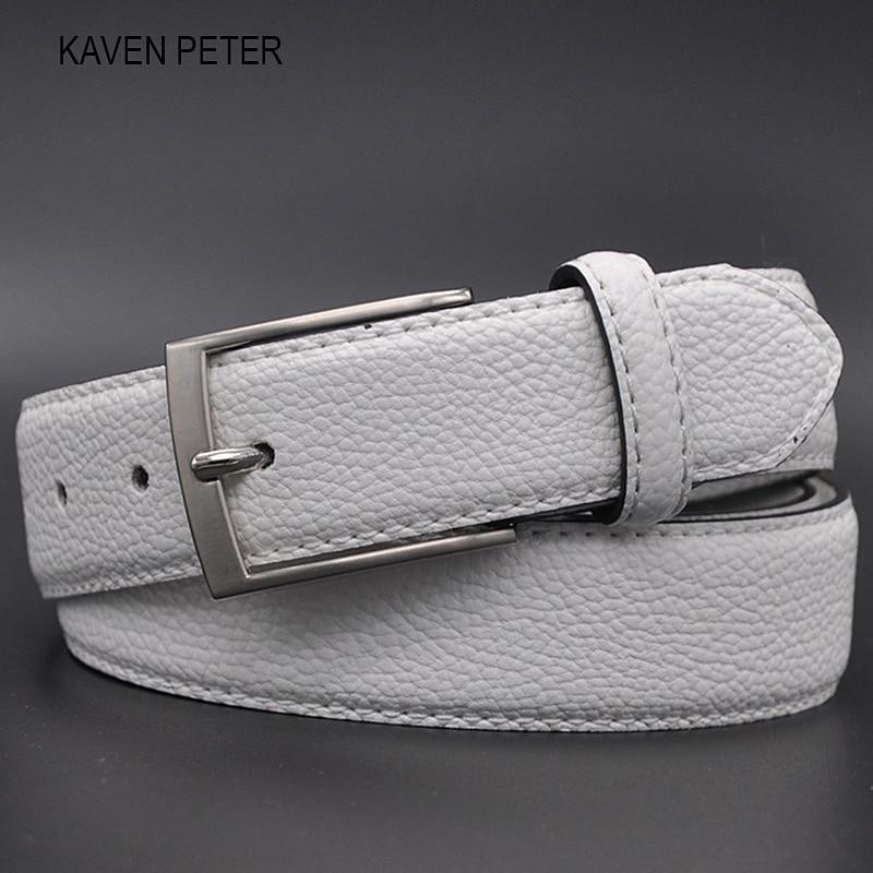 White Male Cloth Waist Belt Fashion Belt For Jeans Business Casual Dress Suit Stylish Pebble Grain White Belt Holes FreeShipping