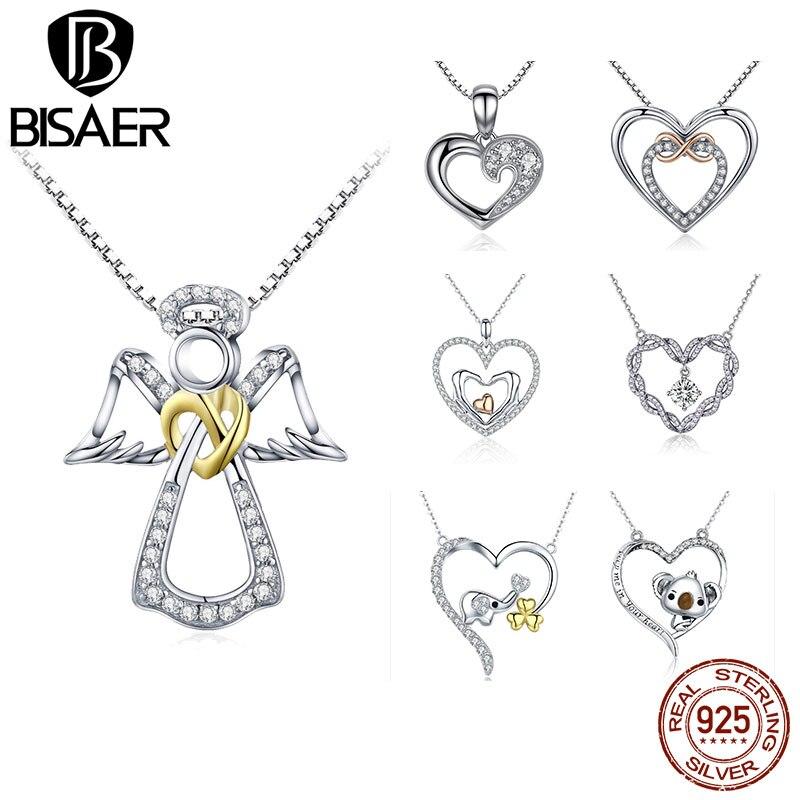 Regalo de San Valentín de 925 de plata esterlina Ángel guardián corazón colgante de plumas Collar de plata auténtica joyería