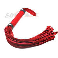 60cm spanking red suede leather flogger, handmade Horse whip, flirting fun sexy leather whip Knout sex toys