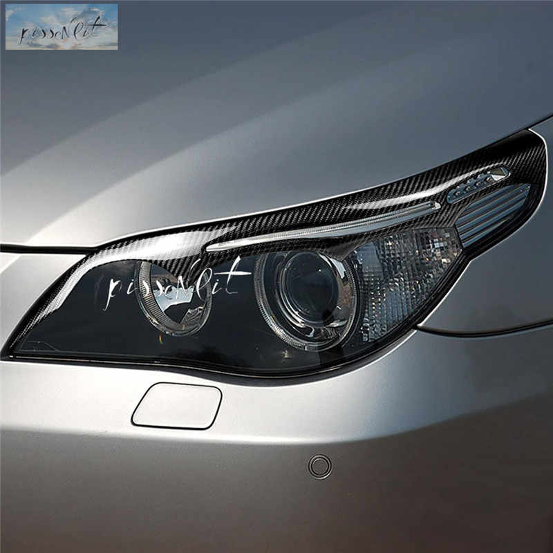 Mobil Styling Aksesoris untuk BMW E60 5 Series 04-2011 Carbon Fiber Headlight Alis Kelopak Mata Depan Headlamp Alis Trim cover