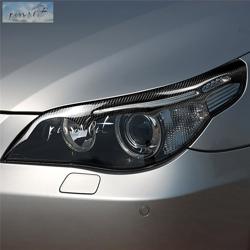 Real Carbon Fiber Eyebrow Eyelid Head Light Covers Fit BMW F10//F18 2010-2016