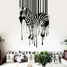 Free Shipping  Zebra Pattern Wall Sticker Boys Bedroom Decoration Removeable Vinyl Living Room Background Wall Art Decal stylish zebra and sea mew pattern removeable wall stickers