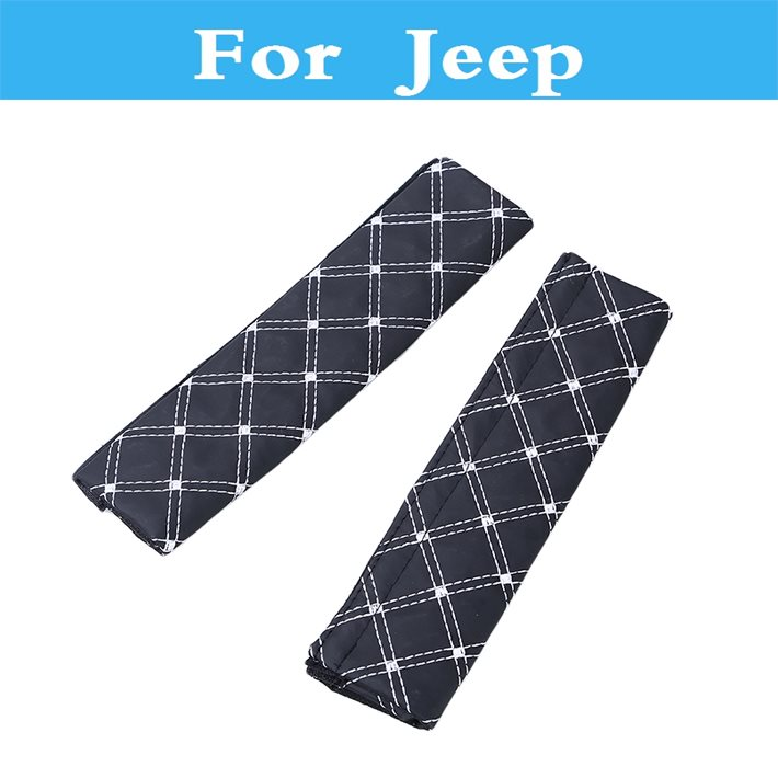Faux Leather Car Safety Seat Belt Strap Soft Shoulder Pads Cover For Jeep Liberty Renegade Wrangler Commander