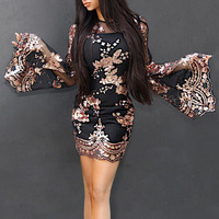 Free Shipping women new fashion dress o neck long flare sleeve slim mini dress ladies transparent sequins floral sexy club dress