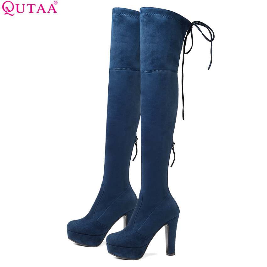 QUTAA 2019 Women Winter Shoes Platform Over The Knee High Shoes Plartorm Lace up Keep Warm Squae High Heel Women Boots Size34-43