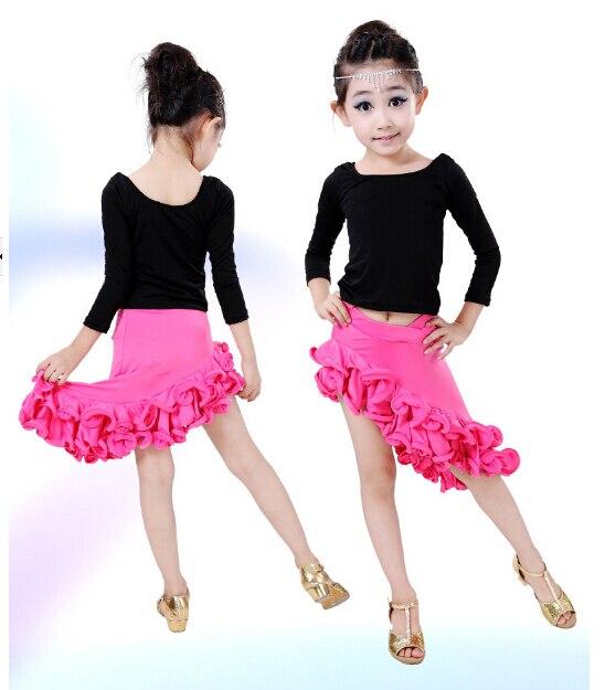 2pcs top+dress Blue red pink rumba latin dance dress tango samba 120-160cm professional girl child stage performance costume