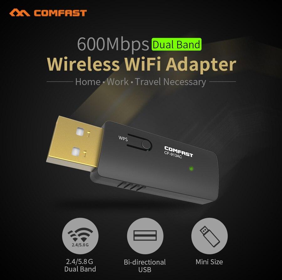 Hot !600M 802.11AC laptop usb wifi adapter Dual Band 2.4Ghz/5Ghz USB Wireless/Wi-Fi AC network card Comfast Access point adaptor