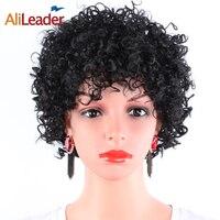 AliLeader Señoras Pelucas Afro Americano Japonés Kanekalon Fibra Resistente Al Calor peluca Sintética Rizada Rizada Peluca Natural Negro Peluca Corta