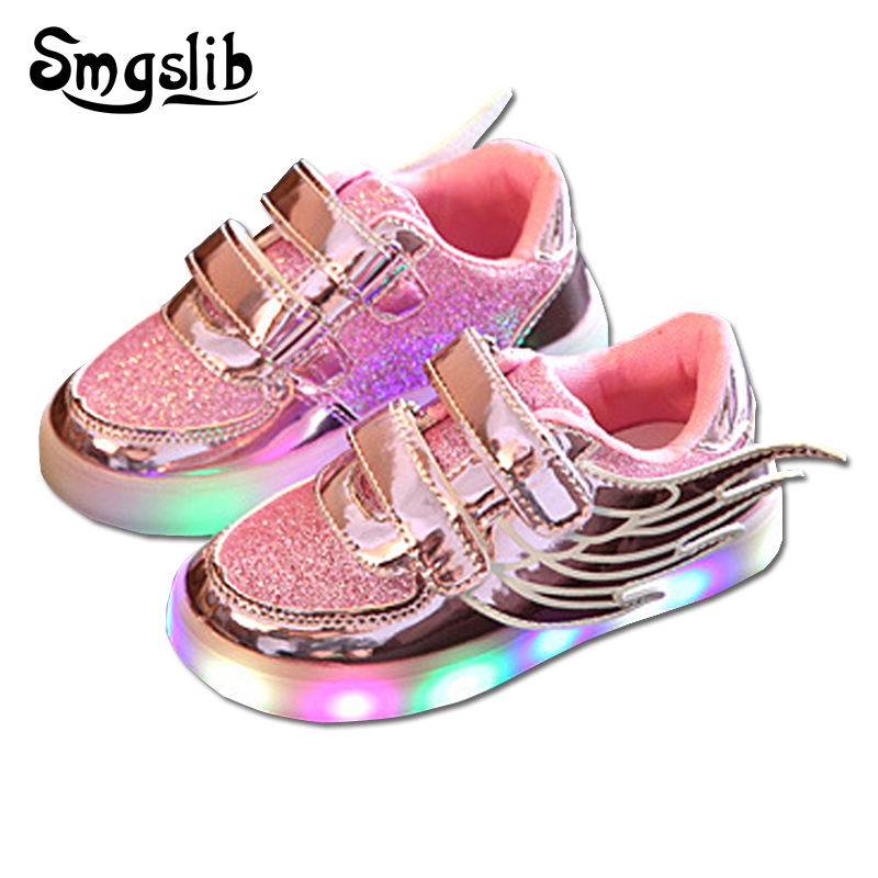 45853743a15 US $13.52 30% OFF|SMGSLIB Kids light up shoes with wings flats Children  Casual Baby Luminous school Shoes little Girls shoes Glowing boys  sneakers-in ...