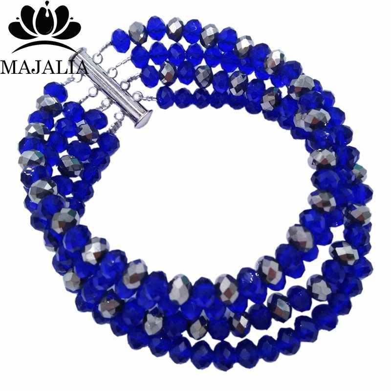 Majalia Königsblau und silber Kristall Perlen Recht Afrikanische Schmuck-Set Nigerianischen Hochzeit Kleidung Schmuck Sets 5ST002