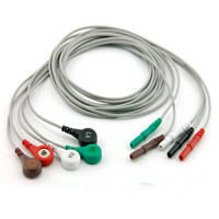 Free Shipping AAAMI holter recorder ECG leadwire,5 leads,Snap,AHA D1.5 to Snap 4.0 Holter Cables for Holter Machine
