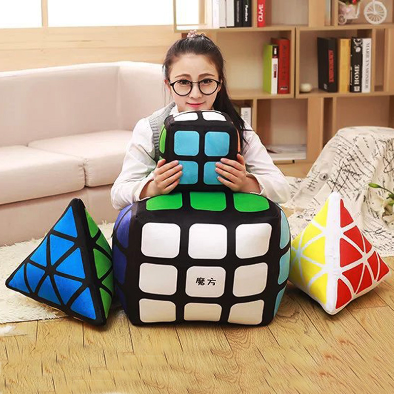 Cartoon Rubik's Cube Square Pillow Cushion Sieve Cushion bolster Children's Digital Cushion living room pillows seat cushions