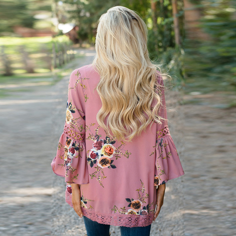 Autumn 2019 Boho Women Jacket Lace Flare Long Sleeve Slim Casual Open Stitch Tops Fashion Women Autumn 2019 Boho Women Jacket Lace Flare Long Sleeve Slim Casual Open Stitch Tops Fashion Women Clothes Spring Shirt Coat Jacket