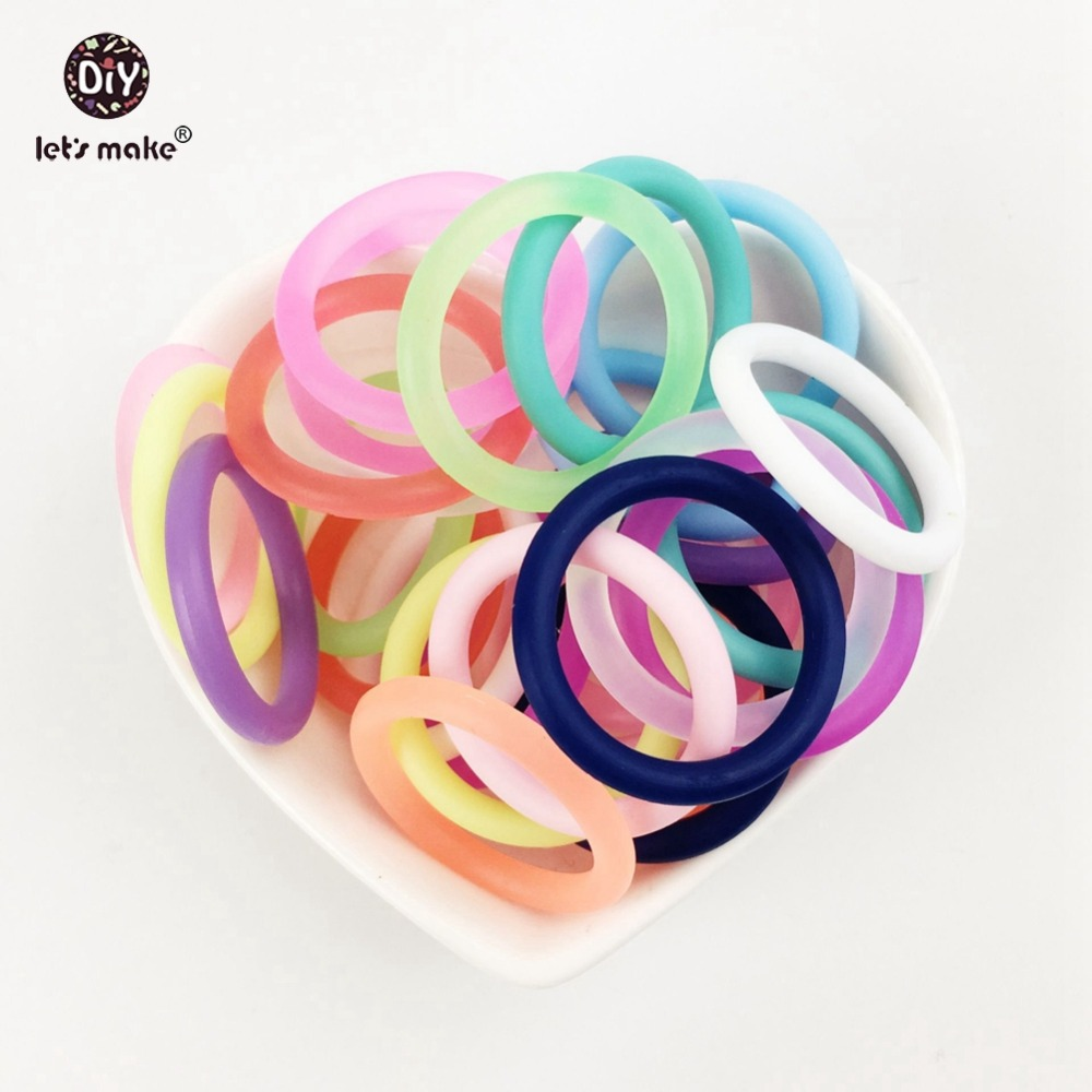 Lets make Soother Clip Rubber Circle Silicone Teether O Ring Baby 100pc Attachment Baby Teether General Silicone Teether
