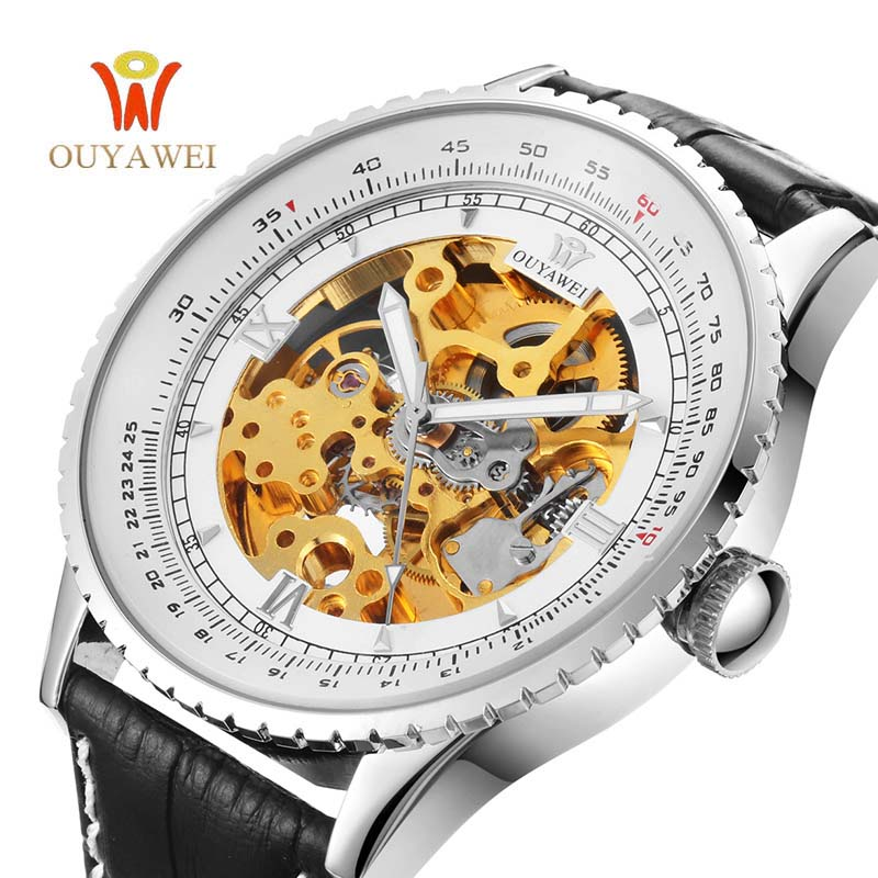OUYAWEI Black Male Clock Men Relogios Skeleton Men Watches Top Brand Luxury Montre Homme Leather Wristwatch Men Mechanical Watch hot 2pcs phono rca male plug to av screw terminal for cctv av adapter jack balun for camera accessories dvr cctv system
