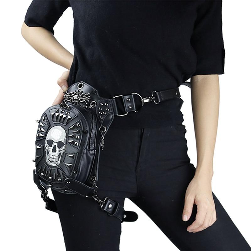 Fashion Gothic Steampunk Skull Retro Rock Bag Men Women Waist Bag Shoulder Bag Phone Case Holder Vintage Leather Messenger Bag 5