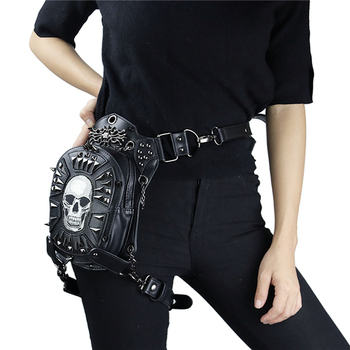 Fashion Gothic Steampunk Skull Retro Rock Bag Men Women Waist Bag Shoulder Bag Phone Case Holder Vintage Leather Messenger Bag 5