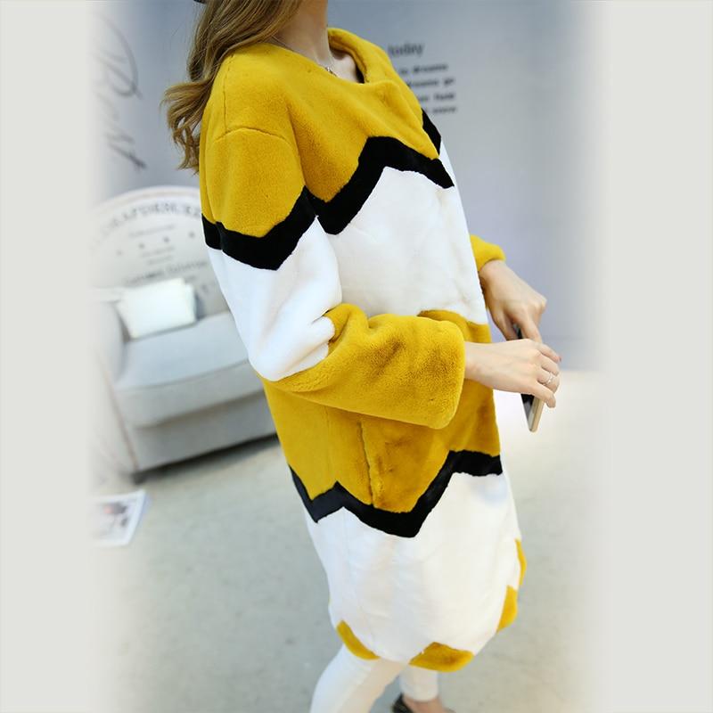 Nerazzurri Çok renkli sahte kürk palto renk bloğu kadın zarif - Bayan Giyimi - Fotoğraf 4