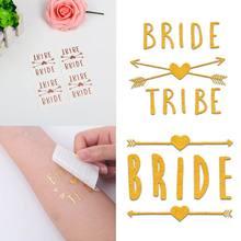 4x4cm metálico ouro rosa tatuagem temporária etiqueta nupcial equipe dama de honra hen noite despedida de solteira festa de casamento decoração suprimentos