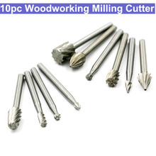 10pcs Wood Carving Milling Cutter Set HSS Routing Router Bits Burr Milling Cutter For Dremel And Rotary Engraving Machine Tools