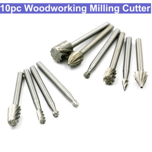 Image 1 - 10pcs Wood Carving Milling Cutter Set HSS Routing Router Bits Burr Milling Cutter For Dremel And Rotary Engraving Machine Tools