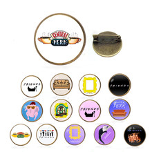 Friends Brooch TV Show jewelry Central Perk Coffee Time Metal Pins and Brooches for Women Men Lapel pin badge Christmas gifts(China)