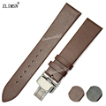 18 20 22mm new 100% Genuine Leather Brown Smooth thin Watch Band Strap Men Women Relojes Hombre 2017  Digital Watch