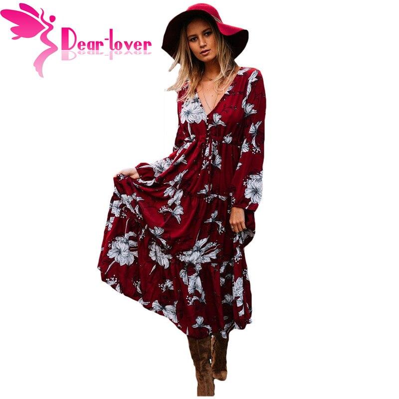 8428095eea59 Dear Lover Autumn Dress 2017 Vintage Hot Wine Black Mustard Floral Print  Long Sleeve Boho Maxi Dress Vestidos Robe Femme LC61669