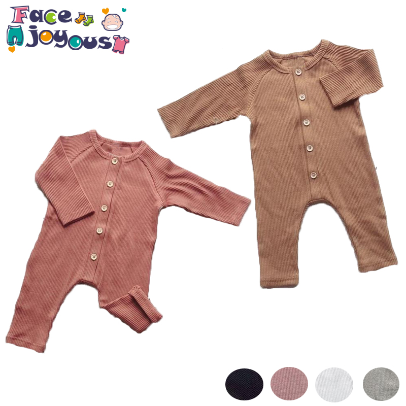 Bebê recém-nascido Da Menina do Menino Roupas criança nervuras Sólida Manga longa Romper Roupas macacão de bebê outono roupas de bebê roupa de menina