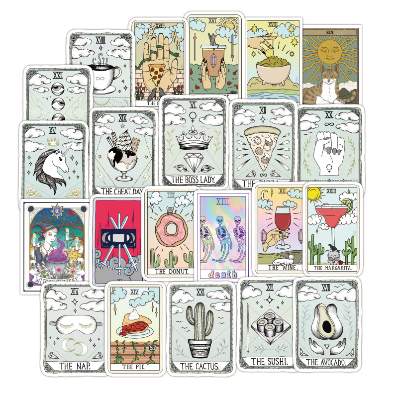 50PCS Tarot Divination Stickers Trolley Rectangle Sticker Cute Waterproof Guitar Skateboard Doodle Sticker For Children Toys F3