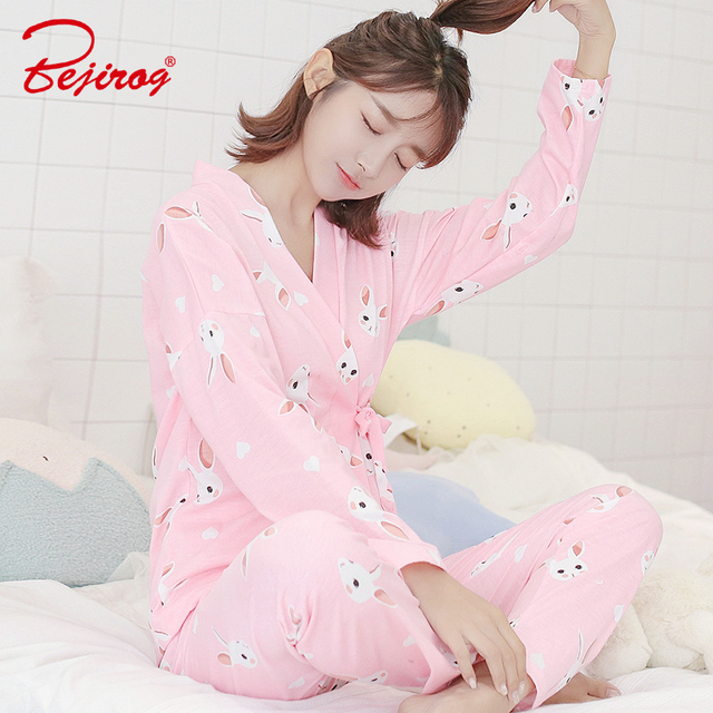 Bejirog kimono cotton sleepwear for sweet girl long sleeve pajamas set women  rabbit print nightie animal pyjama autumn nightwear f5b422798