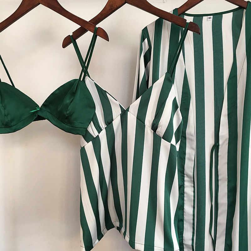 Baru Kedatangan 2018 musim semi desain empat potong satin pajamas set mandi + bra + tops + celana mewah perempuan seksi nighties