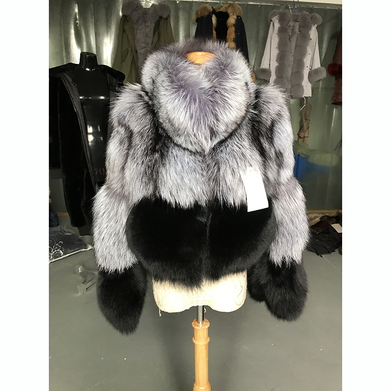 2019 Luxury Real Silver Fox Fur Coat Stand Collar Warm For Women's Thick Pelt Winter Ladies Real Fur Coat Short Jackets Outwear