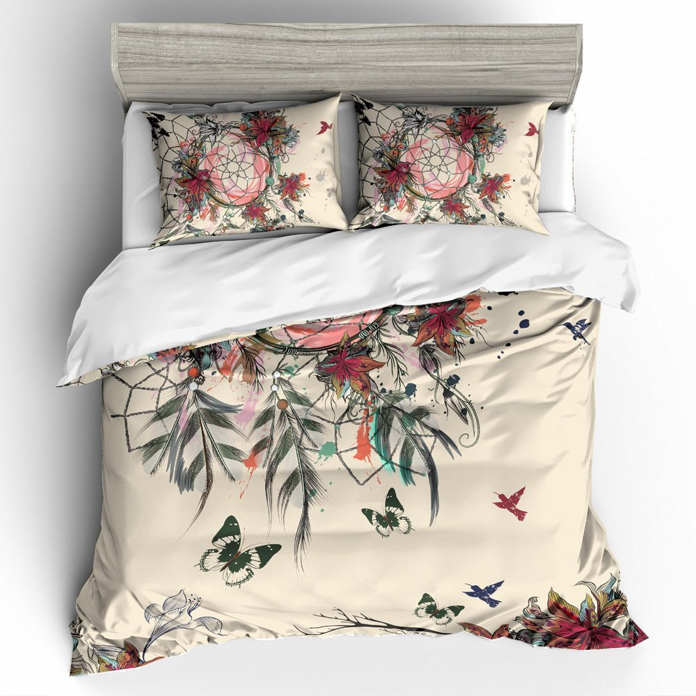 Printing Elegant Hand Drawn Bohemian Tribal Fashion Dreamcatcher Butterflies Flowers 4 Piece Duvet Cover Sets Boho Bedding Set