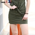 FreeArmy Brand Quality Womens Mini Skirt Pattern Military Army Green Pocket Decoration Ladies Short Skirts Gk-9507A