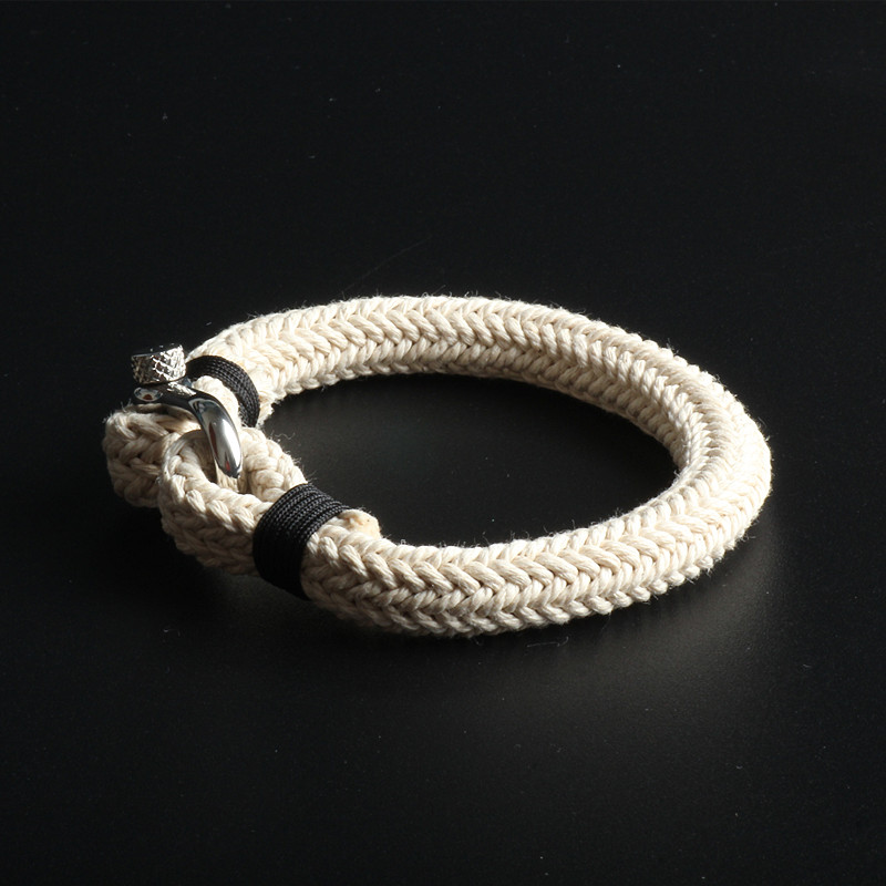 Again Jewel Charm Navy Style leather Braided Rope Stainless Steel Buckles Survival Bracelet for Men Women pulseras