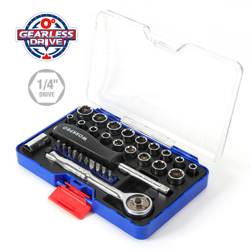 WORKPRO 31PC 1/4 Zero Degree Socket Wrench Tool Direct Drive Ratchet Spanner Sockets Set 46pcs socket set 1 4 drive ratchet wrench spanner multifunctional combination household tool kit car repair tools set